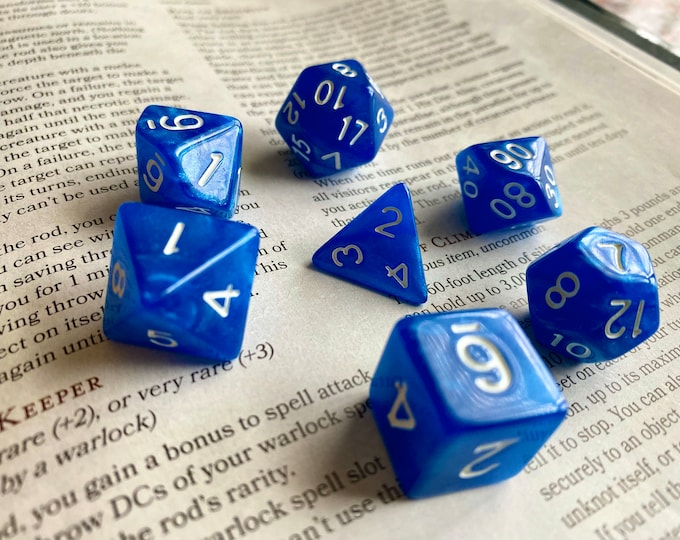 True BLue DNd DIce SEt, RPg DIce SEt FOr PAthfinder, DUngeons & DRagons. Acrylic POlyhedral DIce SEt