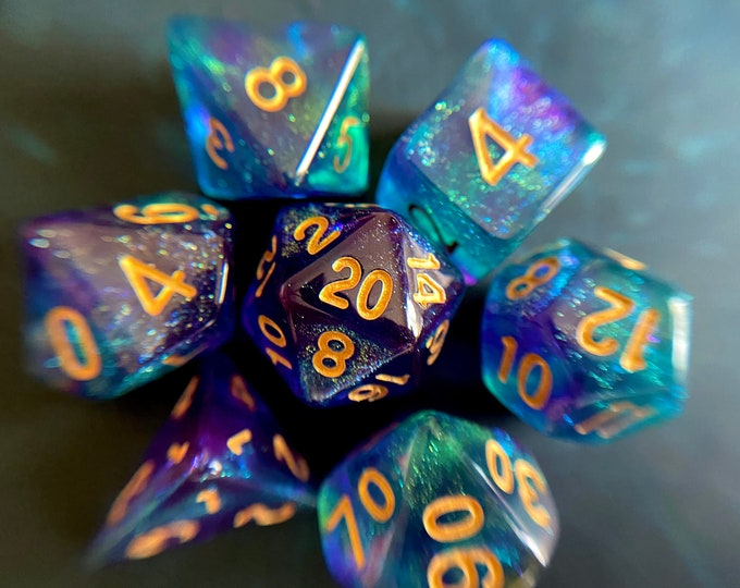 Water SPRITE Dnd Dice Set for Dungeons and Dragons TTRPG, d20 Polyhedral Dice set for Tabletop Role Playing Games