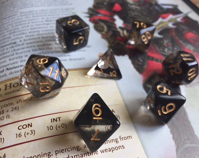 SMOKE n' ASH 7pc Dnd Dice Set for Dungeons and Dragons, Pathfinder RPG tabletop role playing game