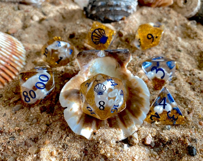 OCEAN PRINCESS dnd Dice Set, D20 Polyhedral DIce Set 4 Dungeons and Dragons TTRPG TAbletop Game DIce - Sea Shells, Glitter, Pearls!