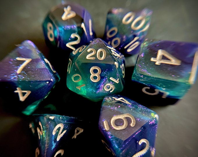 BLUE Phantom Dnd Dice Set for Dungeons and Dragons TTRPG, d20 Polyhedral Dice set for Tabletop Role Playing Games