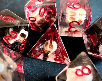 SUMMONING SKULL dnd DIce SEt for Dungeons and Dragons TTRpg, Polyhedral dice set for Tabletop role playing games - deathly necromancer