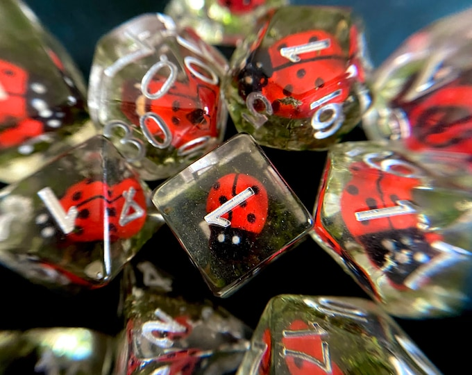 Ladybug DNd DIce SEt 4 Dungeons and Dragons D20 POlyhedral DIce SEt