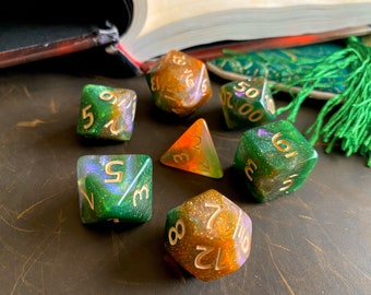 Mystic GROVE DNd DIce SEt for Dungeons and DRagons TTrpg, POlyhedral DIce Set - d20 GAlaxy DIce
