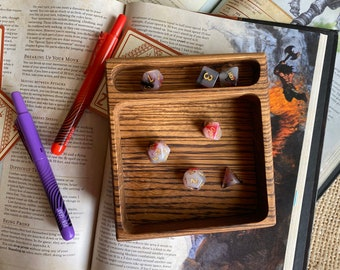 Wood Dice Tray Handmade CARVED dnd dice tray from SOLID hardwood. For Dungeons and Dragons Rpg, Warhammer 40K ttrpg or any role playing game