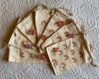 RAINBOW Print DNd DIce BAg POuch POcket FOr DUngeons& DRagons TT RPg, MUslin DRawstring GIft BAg W/ MEtallic SHimmer