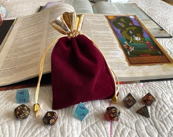 ROYAL Burgundy dnd dice bag/pouch for Dungeons and Dragons TTrpg - gift bag -dice bag- card pouch- drawstring bag- holds 5 sets of dice