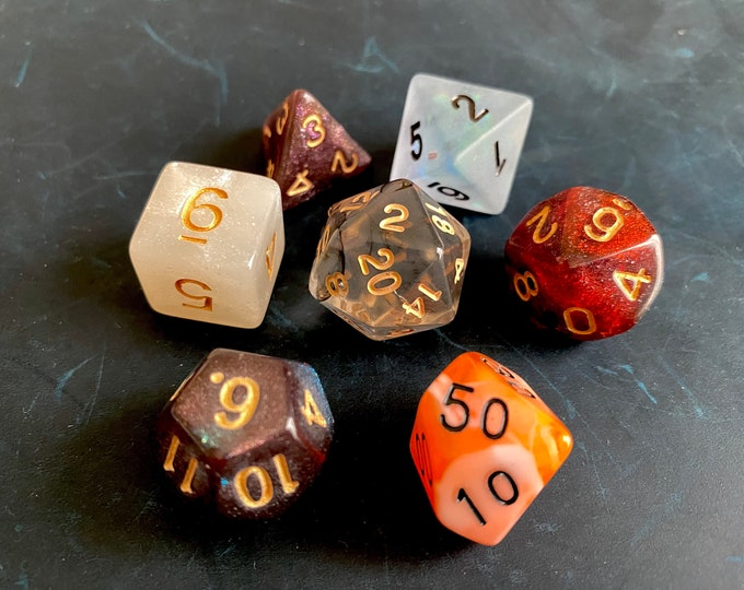 Dark Mixed DNd Dice set FOr Dungeons and Dragons RPg POlyhedral DIce