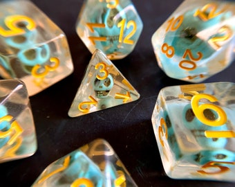 GHOSTLY SKULL dnd DIce SEt for Dungeons and Dragons TTRpg, Polyhedral dice set for Tabletop role playing games - tiny bone skulls inside!