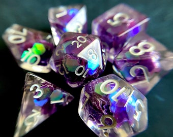 Night Tears dnd dice set for Dungeons and Dragons, d20 Polyhedral dice set for TT RPG - incredible iridescent sparkles!