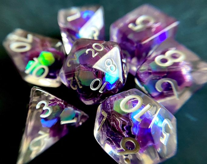 Tears of the Night dnd dice set for Dungeons and Dragons, d20 Polyhedral dice set for TT RPG - incredible iridescent sparkles!