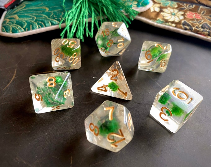 HERB FLOWER Dnd Dice Set for Dungeons and DRagons tTRPG, POlyhedral RPg DIce SEt -   REal FLowers INside!!!
