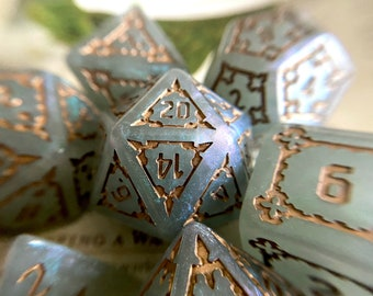 GIANT Dice - Gray shield Dnd Dice Set, d20 Polyhedral Dice SET for Dungeons and Dragons TT RPg