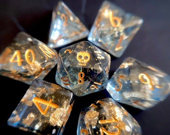 Sunken Treasure Dnd dice set, d20 Polyhedral dice set, Pirate Dice for Dungeons and Dragons - PRE- ORDER