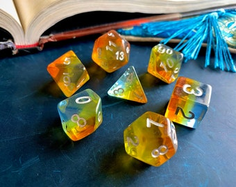 SUMMER SUNSET DNd DIce SEt FOr DUngeons & Dragons, PAthfinder RPg, TTrpg POlyhedral DIce SEt w/ rainbow of teal, yellow, orange
