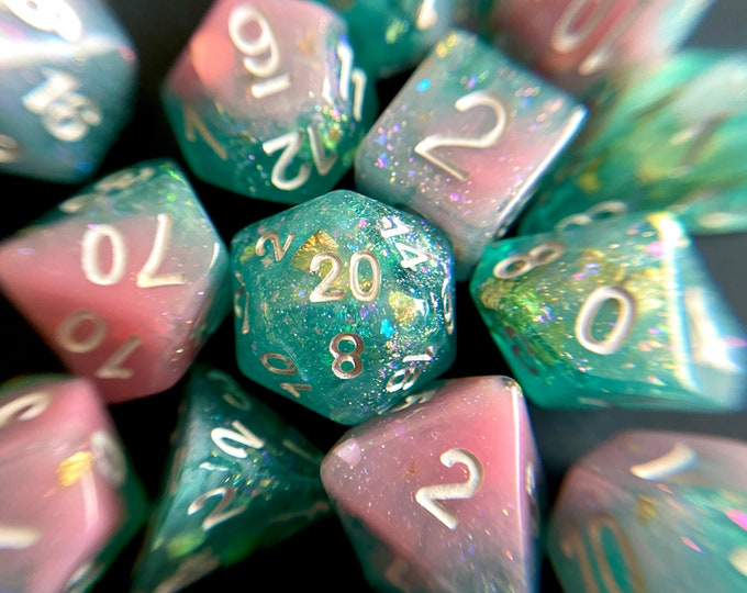Mermaid Tail Dnd Dice Set for Dungeons and Dragons TTrpG, d20 Rpg tabletop gaming - super shimmery!