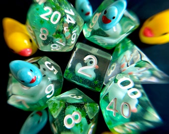 ZOMBIE DUCKY dice  dnd DIce SEt for Dungeons and Dragons TTRpg, d20 Polyhedral dice set for Tabletop role playing games - cute tinY DUcks!