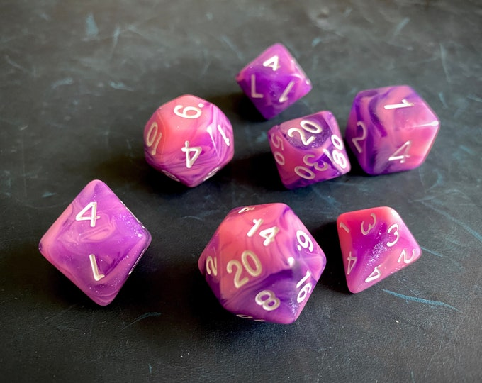 Pink Orc Dnd Dice Set for Dungeons and Dragons TTrpg, Polyhedral dice set for d20 tabletop gaming