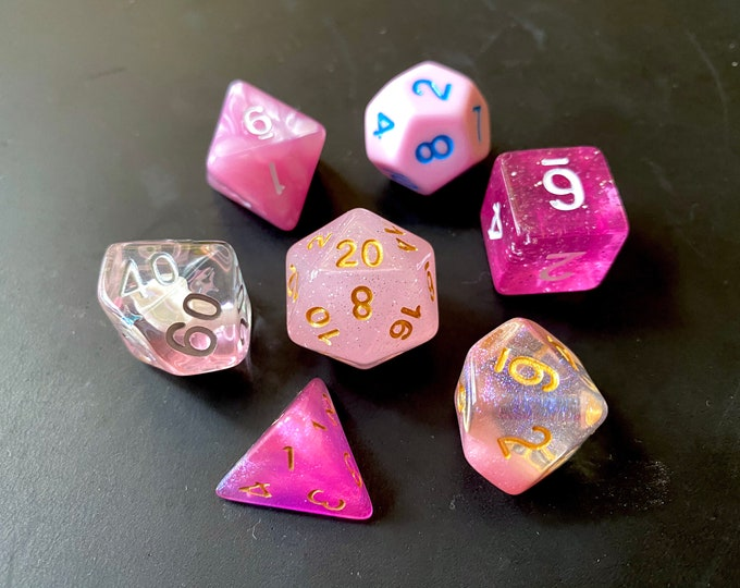 PINK Mixed DNd Dice set FOr Dungeons and Dragons RPg POlyhedral DIce