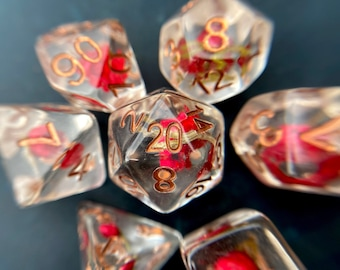 Rose Bud dnd dice set, Rose dice, flower dice, game dice set for Dungeons and Dragons, Tabletop games d20