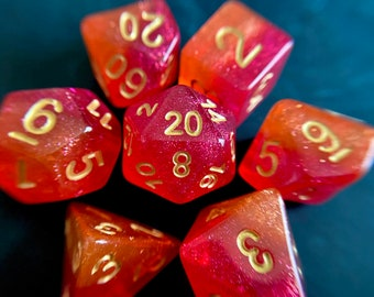 Fiery Sunset DNd DIce SEt for Dungeons and Dragons TTrpg, d20 Polyhedral Dice Set for Tabletop Role Playing Games