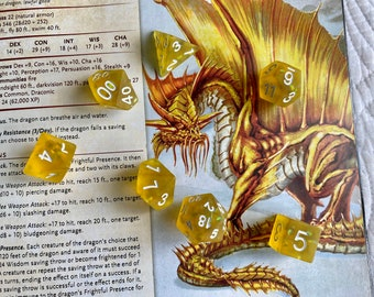 Gold Dragon Scale Dnd dice set for Dungeons and Dragons TTrpg, d20 Polyhedral Dice set ---- Dragon Scales Inside!! Flawed