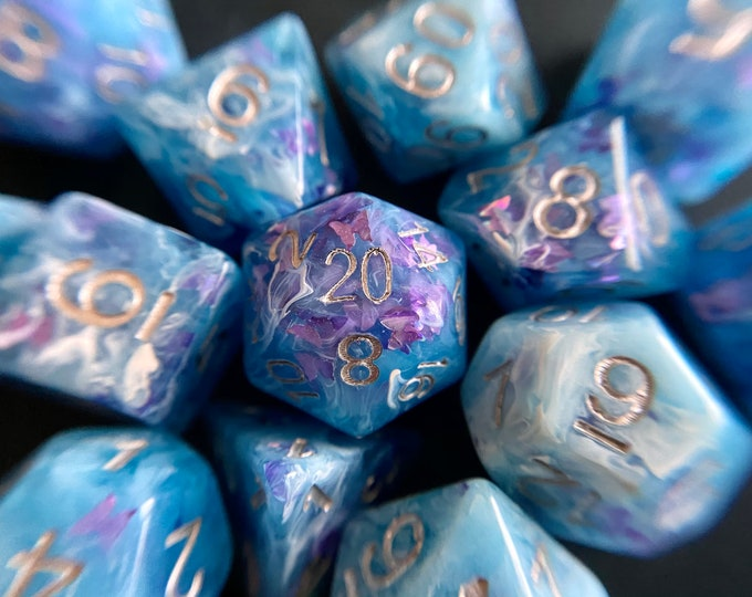 Butterfly SKy dnd dice set 4 Dungeons and Dragons, D20 Polyhedral dIce SEt