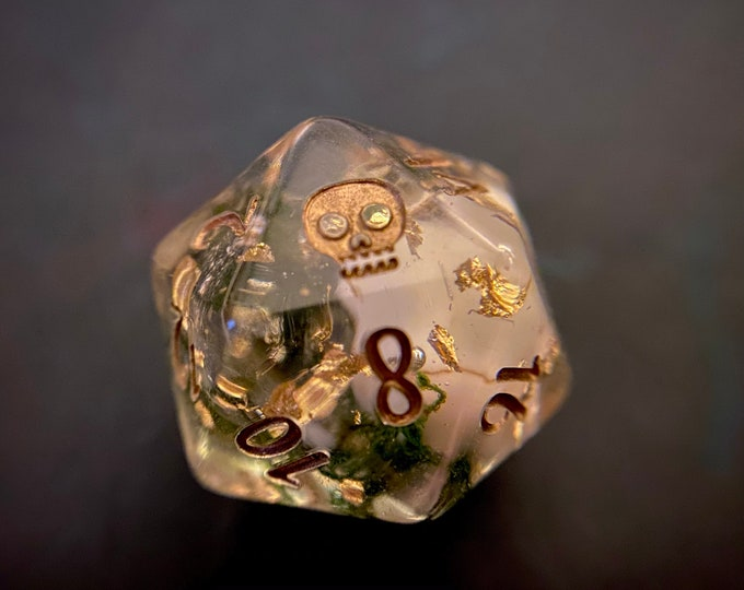 SKULL D20 dnd DIce PIECE for Dungeons and Dragons TTRpg, Polyhedral dice set for Tabletop role playing games