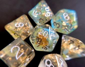 Wishing Well dnd dice set for Dungeons and Dragons TTrpg, d20 Polyhedral Dice Set -- Gold Foil and Magic!