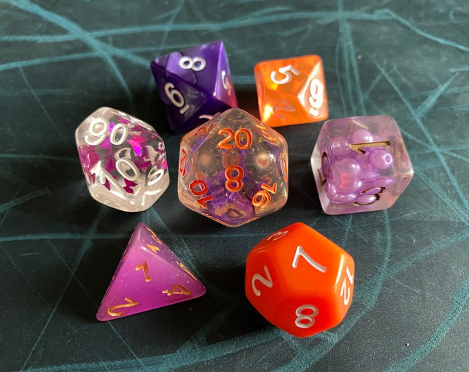 PO4 OOAK MIX DNd DIce SEt, D20 POlyhedral dICE SEt For DUngeons And DRagons DIce
