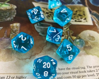 BLUE FLAME dnd dice set for Dungeons & Dragons DICE, D20 D6 polyhedral dice set for any Ttrpg role playing game