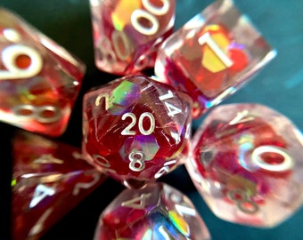 Tears of Fire dnd dice set for Dungeons and Dragons, d20 Polyhedral dice set for TT RPG - incredible iridescent sparkles!