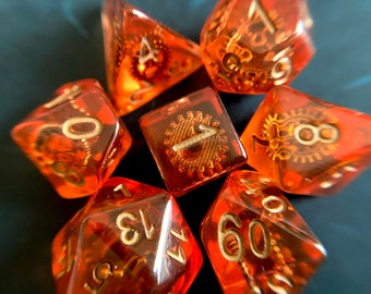 Gear & Wheel Dnd Dice Set for Dungeons and Dragons, D20 Polyhedral Dice sEt TTrpg RPg TAbletop ROle playing GAmes