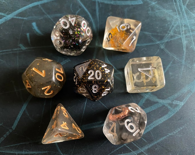 BGG DNd Dice set FOr Dungeons and Dragons dice , OOAK dice MiX, RPg POlyhedral DIce SEt, D20 DIce