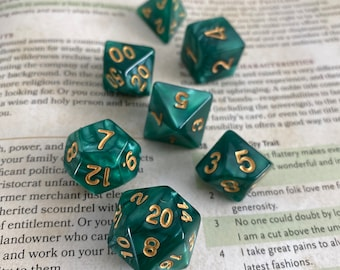 GREEN MARBLE dnd dice set for Dungeons and Dragons RPG, d20 Polyhedral dice set for tabletop role playing games