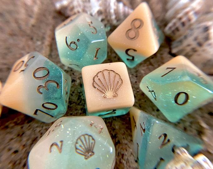 Sea N Sand Dnd dice set, d20 Polyhedral dice set - Dungeons and Dragons dice- Ocean Beach Mermaid Seashell SHell