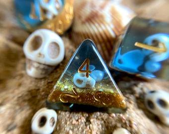 Treasure Island Dnd dice set , GIANT d20 dice, Large D20 big dice, oversized d20 Polyhedral dice set - Ocean themed- Pirate Dice