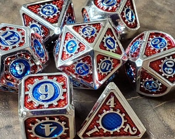 Artificer Metal DNd DIce set, Polyhedral dice set for Dungeons and Dragons RPG, ttrpg -- solid metal & heavy!