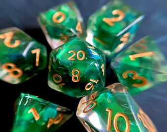 FOREST Tears dnd dice set for Dungeons and Dragons, d20 Polyhedral dice set for TT RPG - incredible iridescent sparkles!