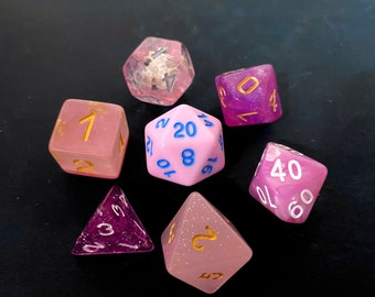 PInk MIx SEt, OOAK MIx SEts,  DNd Dice set FOr Dungeons and Dragons RPg d20 POlyhedral DIce