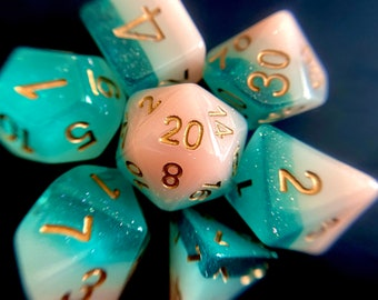 Sea N Sand Dnd dice set, Seashell Dice , d20 Polyhedral dice set - Ocean Themed Dungeons and Dragons dice- OCean BEach DIce