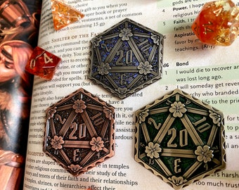 D20 Coin - metal d20 - coin for DND, dnd coin for Hero points or 20 sided dice