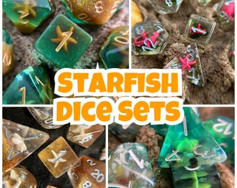 Starfish DNd DIce SEt for d20 DUngeons and DRagons TTrpg, Polyhedral DIce SEt 4 Tabletop Role Playing Games - ocean Mermaid Pirate, STarfish
