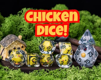 Chicken Dice , Dnd DIce SEt, d20 FARm 7 PIece DIce SEt with chick dice & egg dice for Tabletop Role Playing Games