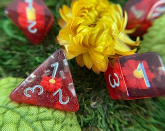 FIRE DAISY dnd dice set for tabletop gaming Dungeons and Dragons dICE TTRpg d20 dice flower DIce SEt