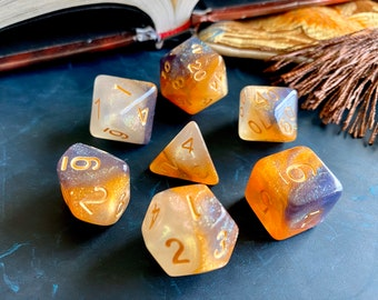 Mystic FOX DNd DIce SEt for DUngeons ANd DRagons TTrpg, POlyhedral DIce SEt FOr d20 TAbletop GAming - FLAWED -