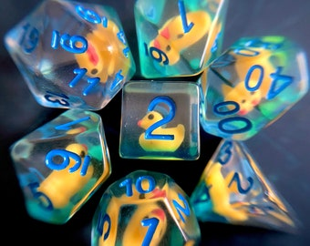 Ducky dice, Dnd dice set, d20 Polyhedral dUCK dice set for Dungeons and Dragons - RUbber DUck TTrpg