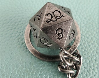 D20 Key Chain, Dragon Font, Dice Key Chain 4 Dungeons and DRagons