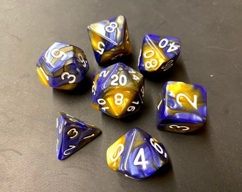 Gold MArble Dnd Dice Set, DUngeons and Dragons Dice, D20 Polyhedral Dice Set SWiRls