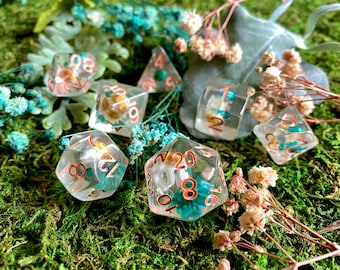 JOY FLOWER Dice, Dnd Dice Set - POlyhedral DIce SEt 4 DUngeons and DRagons 7 PIece DIce SEt D20 CRitical ROle